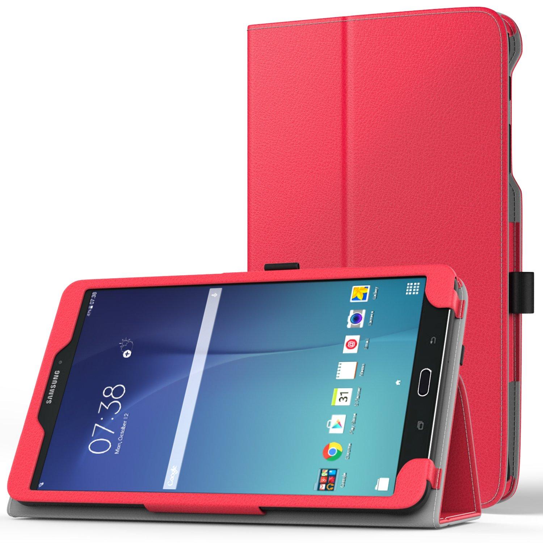 best service ed2ef d1a14 MoKo Samsung Galaxy Tab E 8.0 Case - Slim Folding Cover Case for Samsung  Galaxy Tab E 8.0 Inch SM-T377 4G LTE Verizon / Sprint Tablet, RED