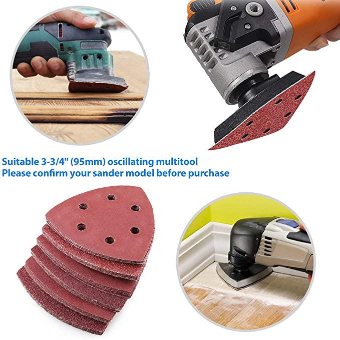 Assorted 40 60 80 120 180 240 Grits 3-3//4 60PCS Triangle Hook and Loop Sandpaper by LotFancy 95mm 6 Holes Sanding Pads Sheets for Oscillating Multitool