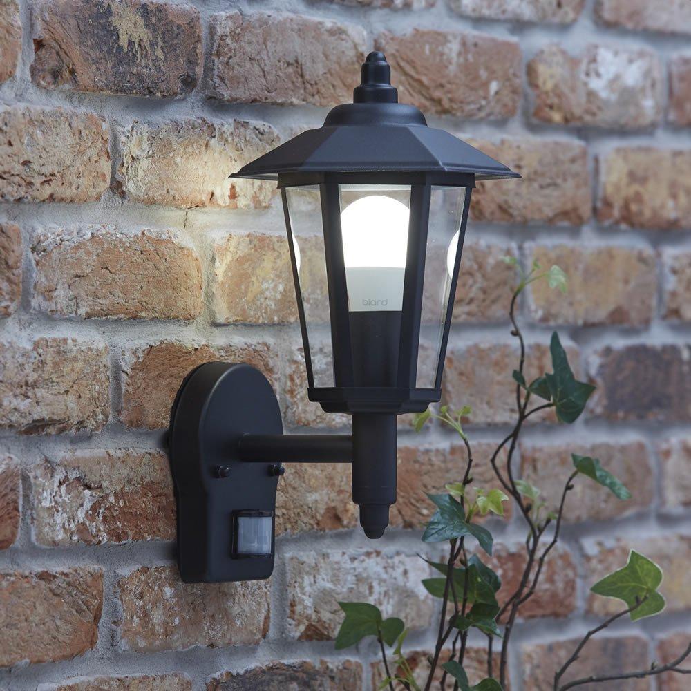 Biard Black Traditional Outdoor Wall Lantern Light with PIR Motion Sensor - E27 Fitting