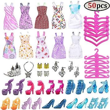 85Pcs Outfit Set Abbigliamento 10Pcs vestiti e 75pcs accessori per Barbie Dolls