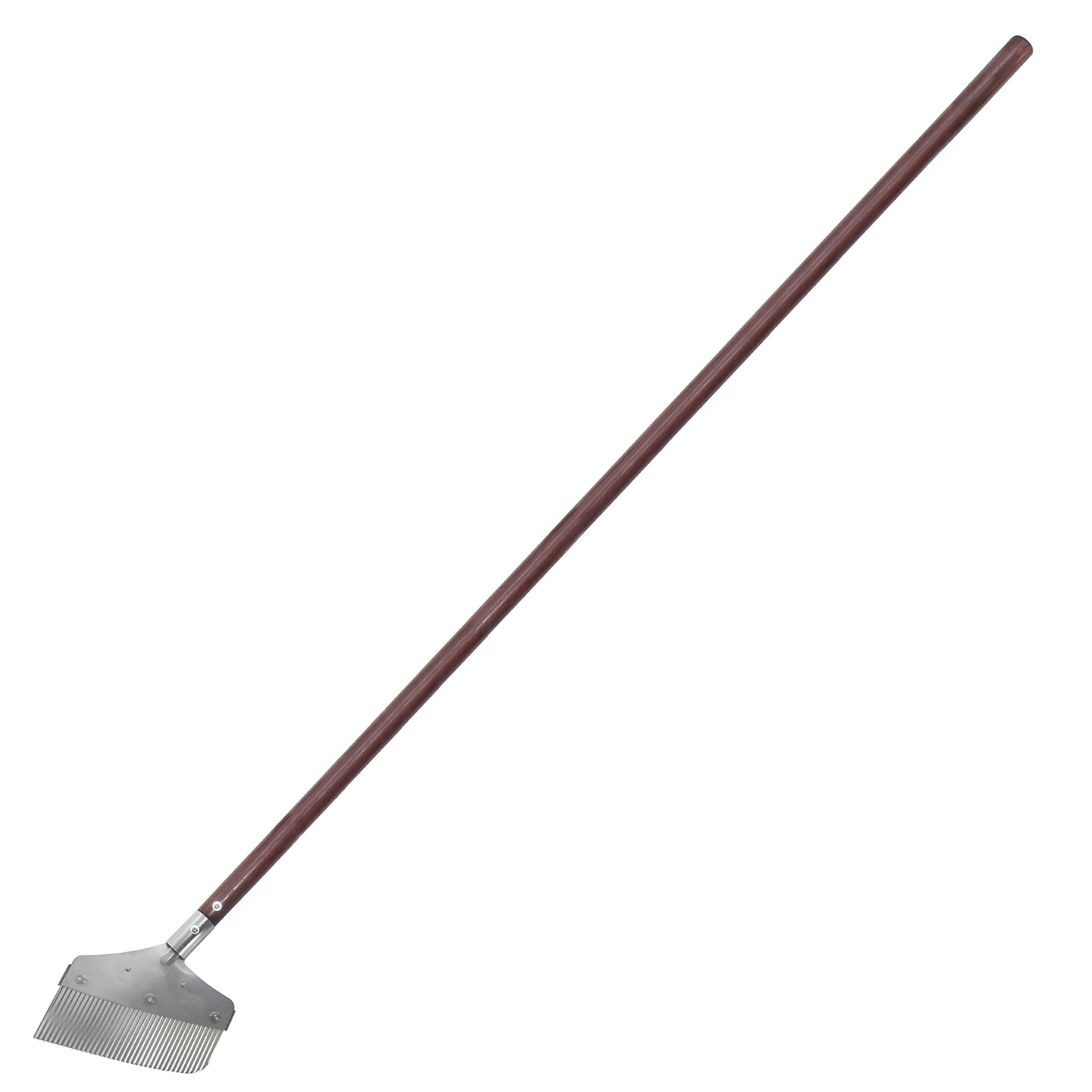 Nisaku NJP2520 Long Sidewalk and Garden Weeder and Sweeper, Authentic Tomita (Est. 1960) Japanese Stainless Steel, Blade Width-7.25'', Polished 51'' Wood Handle