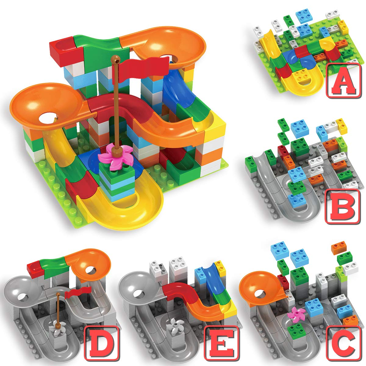 Ranphykx Building Blocks Toys for Children Learning Colors with Marble Run for Kids Toy 90 Pieces