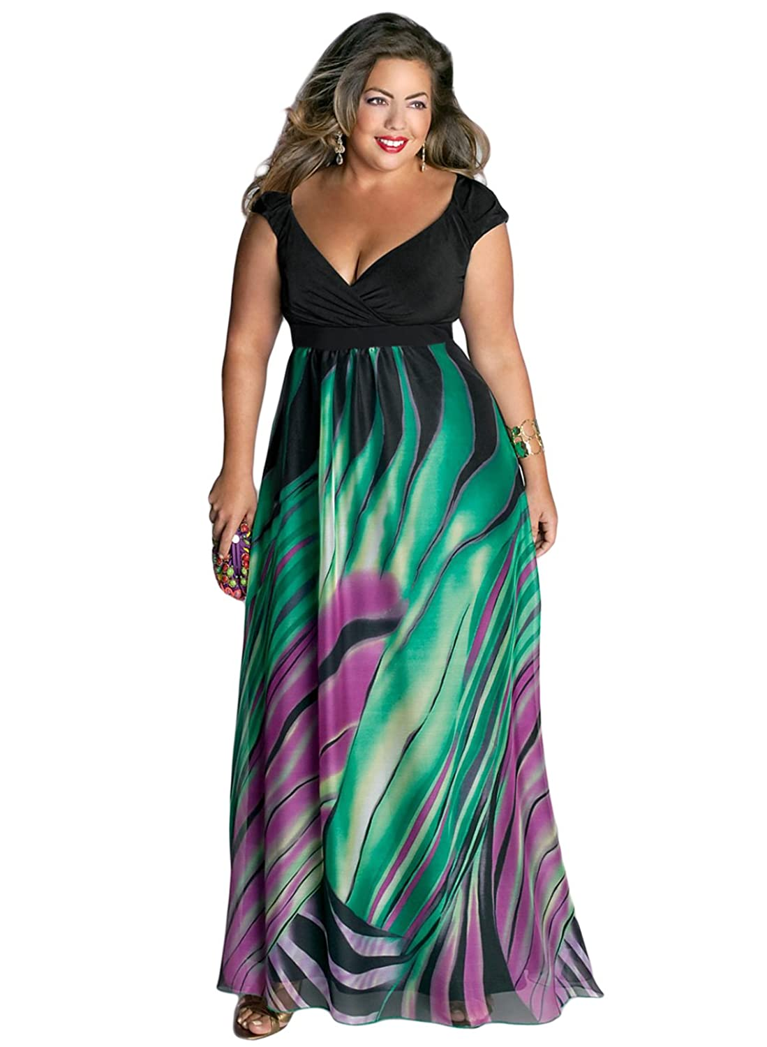 IGIGI Women\'s Plus Size Rainforest Paradise Maxi Dress 12 at Amazon ...