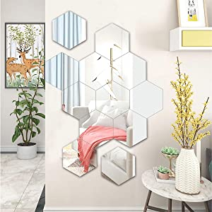 Acrylic Mirror Hexagon Wall Stickers Decals,7.2x6.3 Inch Large,for Home Bathroom Bedroom Decor (12 Pcs)