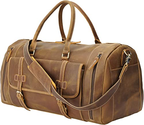 Polare 22 Duffel Retro Thick Cowhide Leather Gym Weekender Overnight Luggage Bag