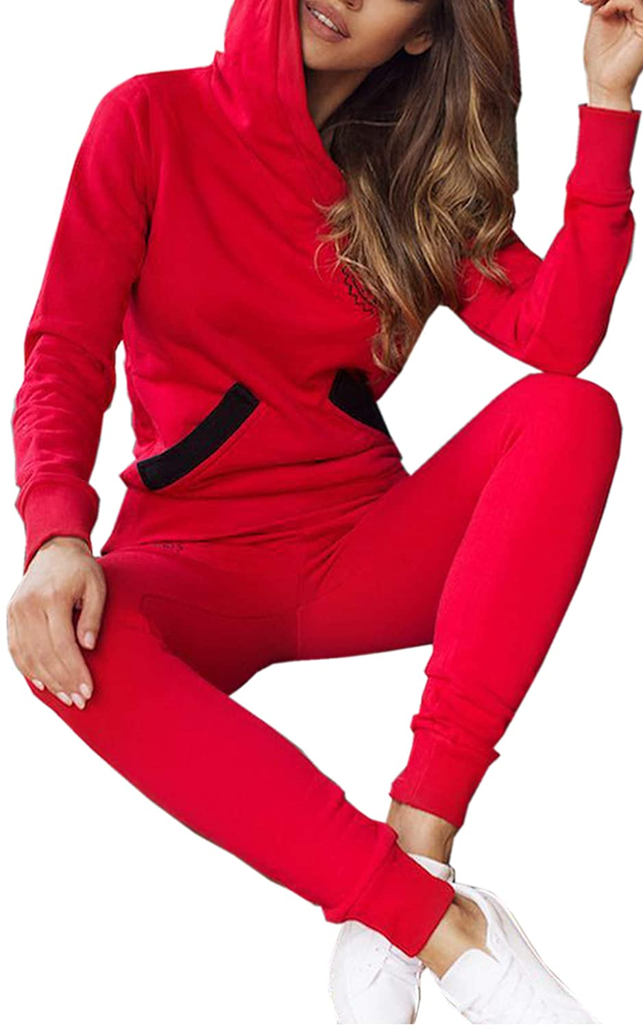 Angashion Women's Two Pieces Casual Hooded Pullover Outfits Long Sleeve Top and Pants Tracksuit Set with Pockets CT718