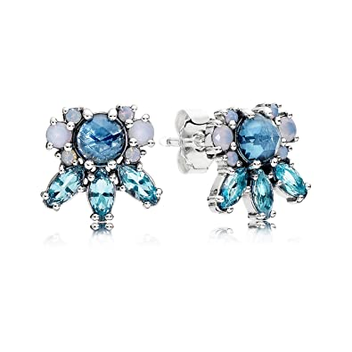 exclusive range 2019 professional catch Pandora Pattern of Frost Earrings - Silver Multi Colored Icicle Shape  Crystal Stud Earring - 290731NMBMX