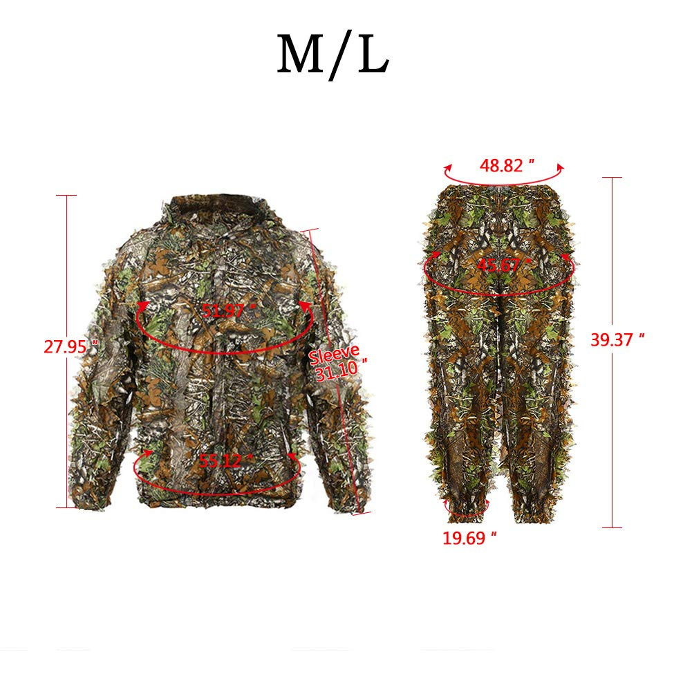 ca58d71f353df Amazon.com : DoCred Ghillie Suit 3D Leaf Realtree Camo Camouflage  Lightweight Clothing Suits for Jungle Hunting, Shooting, Airsoft, Wildlife  or Halloween ...