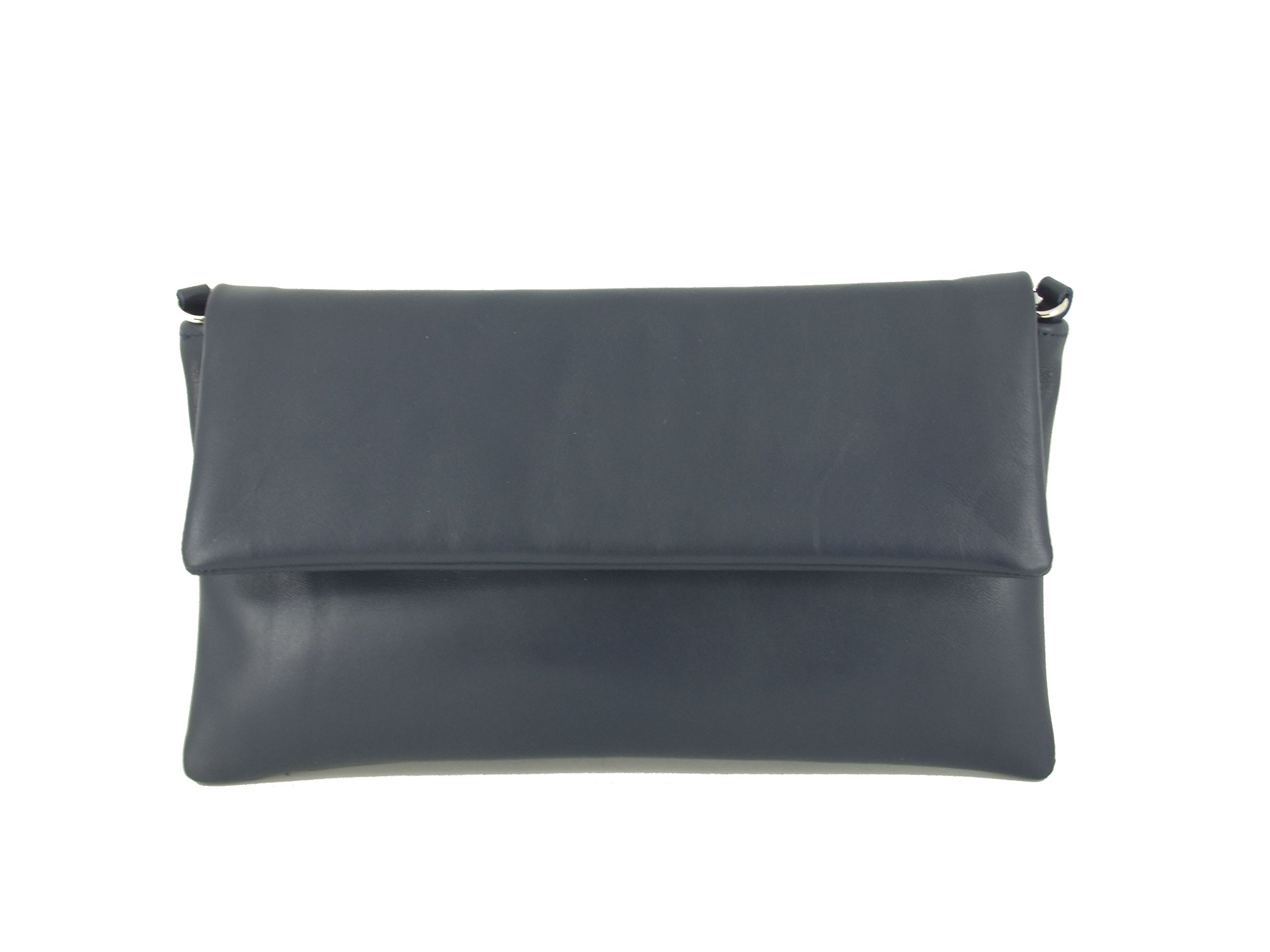 Loni Womens Fine Compact Size Real Leather Clutch Bag/Shoulder Bag Wedding/Occasion Bag In Navy