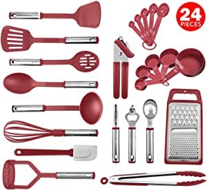 Kitchen Utensil Set 24 Nylon and Stainless Steel Utensil Set, Non-Stick and Heat Resistant Cooking Utensils, Best Kitchen Tools, Useful Pots and Pans Accessories and Kitchen Gadgets (Red)