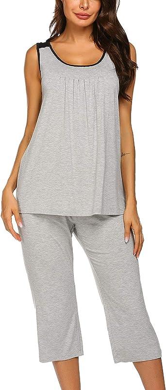 Unibelle Pijama de dos piezas para mujer, de un solo color ...