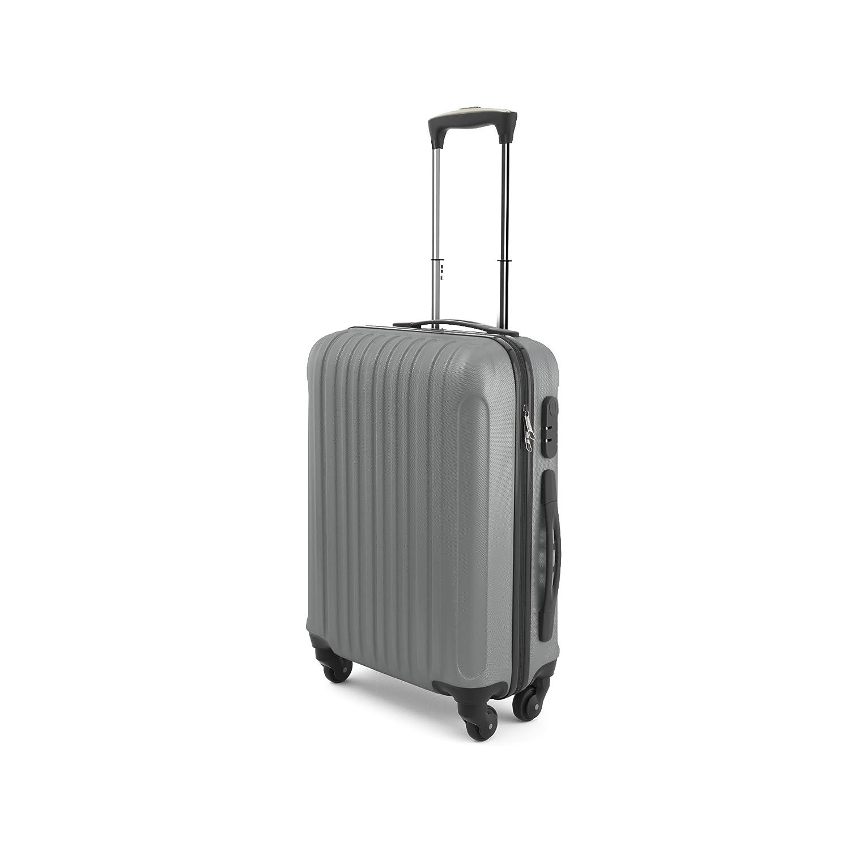 Eglemtek Leichtes ABS Hard Shell 4 Räder Handgepäck Trolley Koffer Gepäck Gepäck Koffer Reise Gepäck Gepäck, genehmigt für Ryanair, Easyjet, Lufthansa, Jet2 und viel mehr, grau