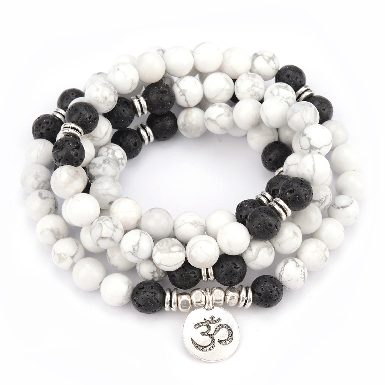 M& B Premium 10mm Mala Beads Bracelet Necklace Combo - 108 Mala Prayer Beads - Yoga Necklace - Zen Jewelry Moss Agate)