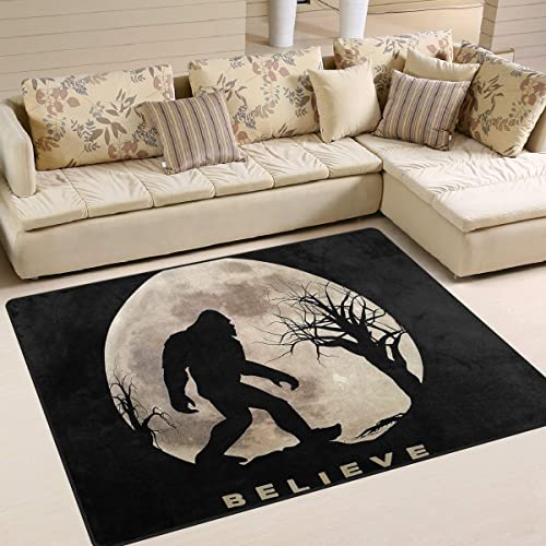 Funny Bigfoot Sasquatch Full Moon Area Rug 5'x 7'