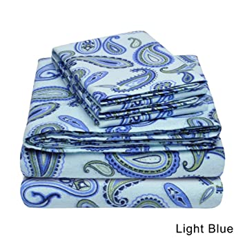 Amazon.com: UKN 3 Piece Light Blue Paisley Pattern Twin XL Sheet