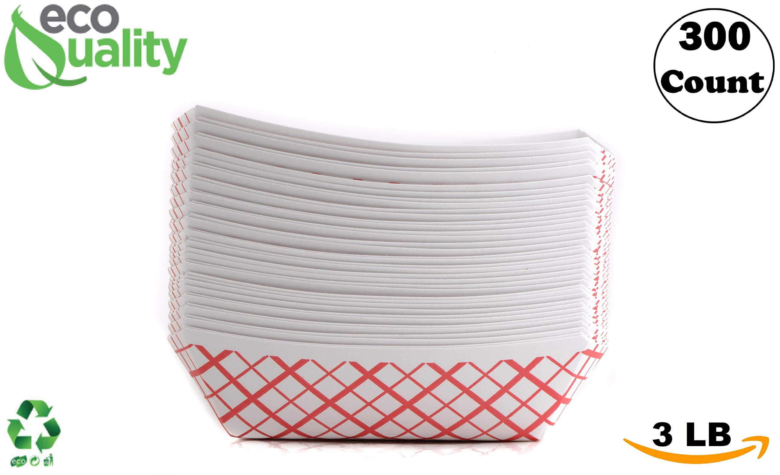 300ct Heavy Duty Disposable Paper Food Tray (3 LB) - Red Check Food Tray, USA MADE, Recyclable, Biodegradable, Compostable, Great for Picnics, Carnivals, Party, Camping, BBQ, Restaurants, Fries