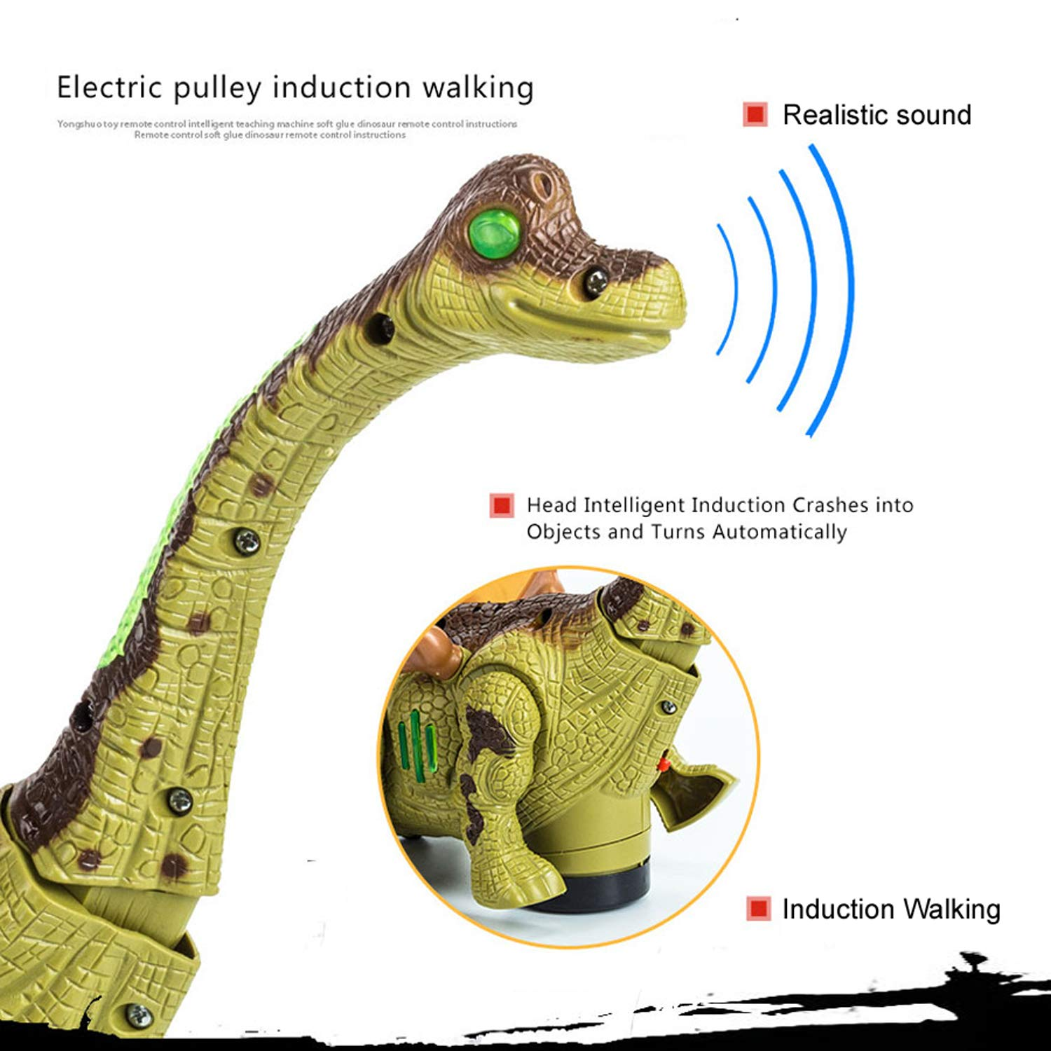 Mrocioa Electronic Dinosaur Toys Walking with Light up&Sound,Big Dino Action Figure 40cm Long for Toddler Boys,Shaking its Tail and Long Neck (Green) by Mrocioa (Image #3)