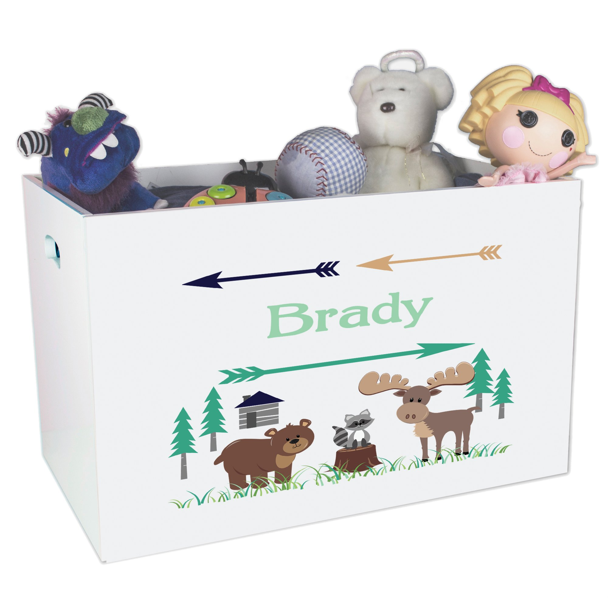 Personalized Forest Animals Childrens Nursery White Open Toy Box