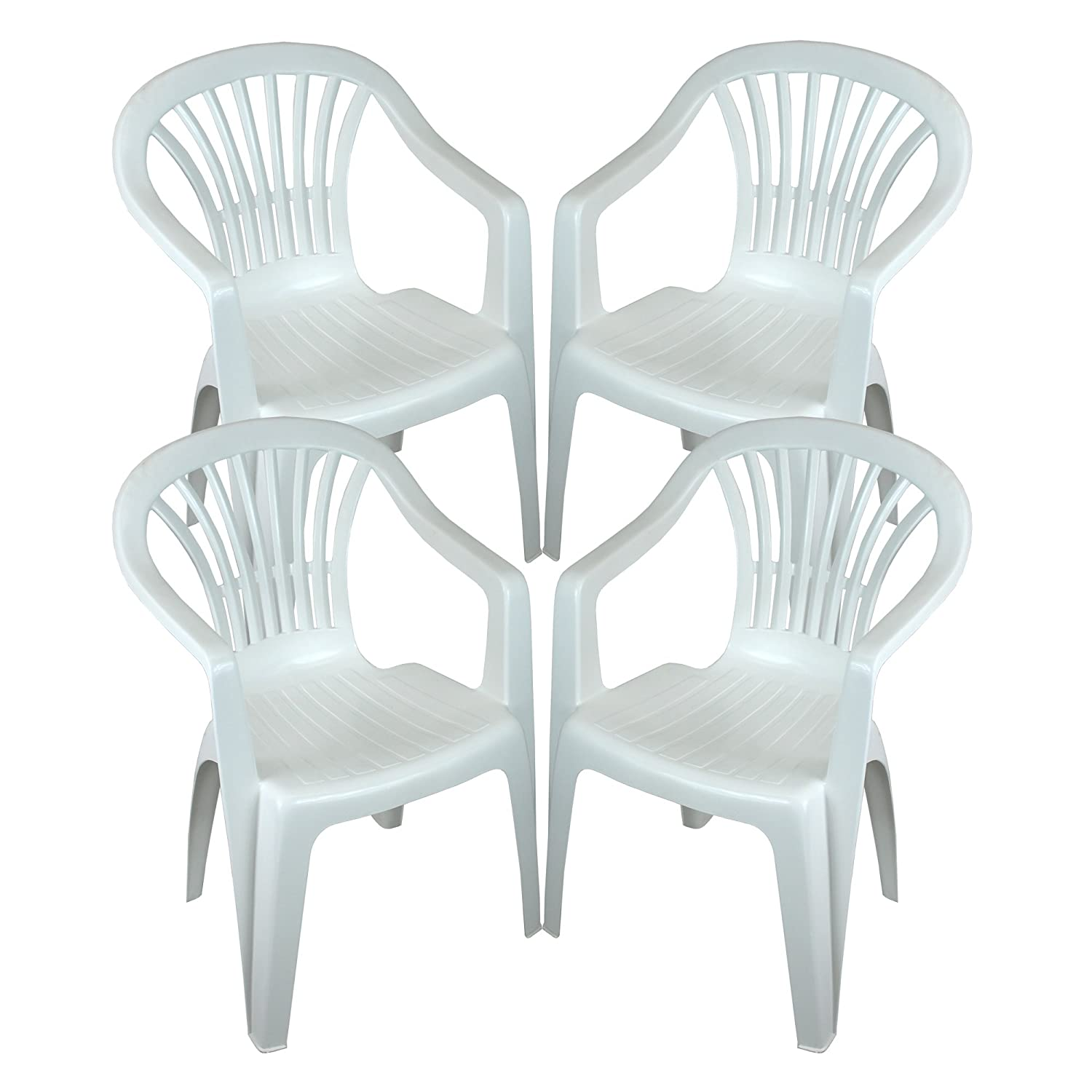 CrazyGadget Plastic Garden Low Back Chair Stackable Patio Outdoor Party Seat Chairs Picnic White Pack of 4 (X4) CrazyGadget®