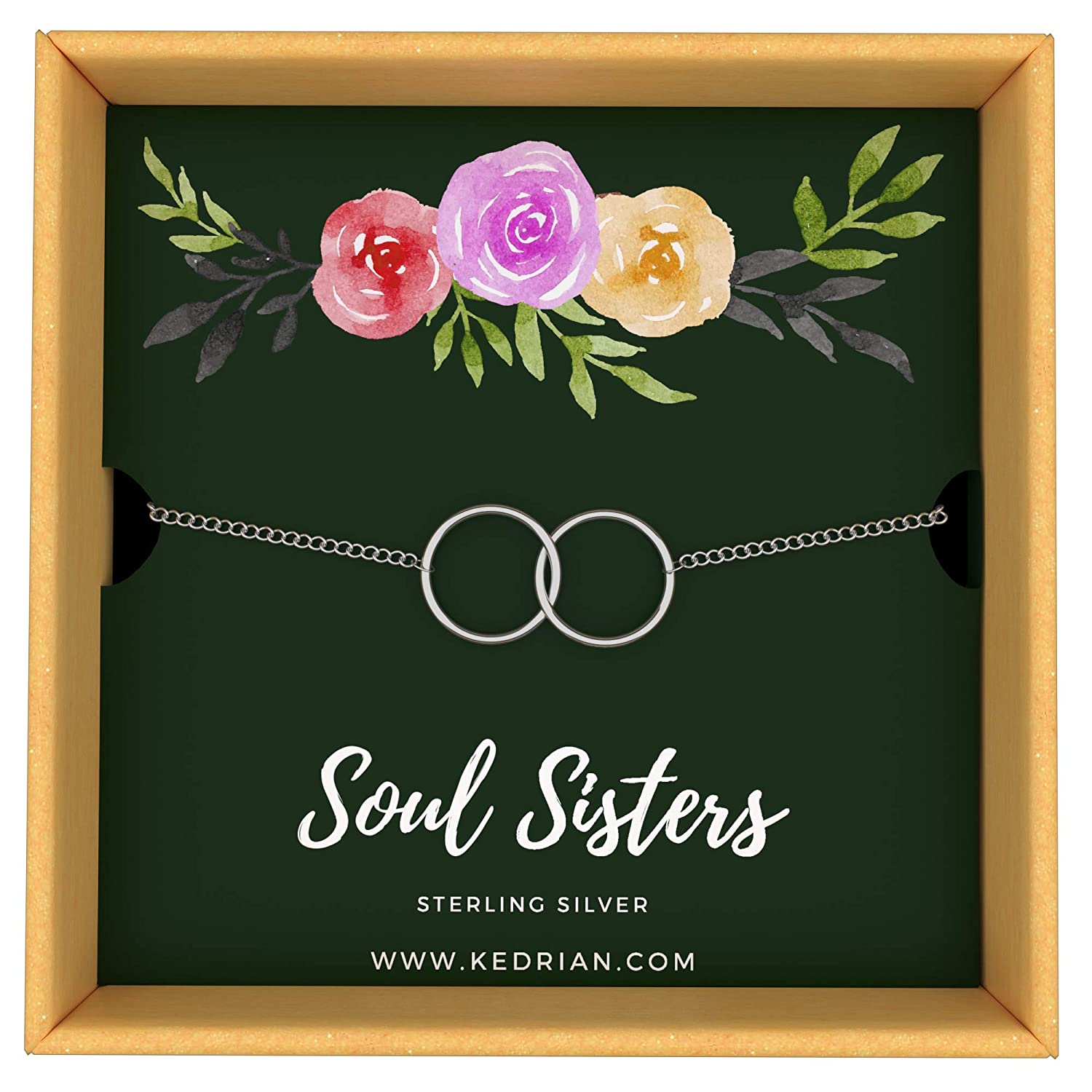 KEDRIAN Soul Sister Bracelet, 925 Sterling Silver, Ideal Soul Sister Gifts Women, Friendship Bracelet, Best Friend Bracelet, Friendship Gifts Women, Women
