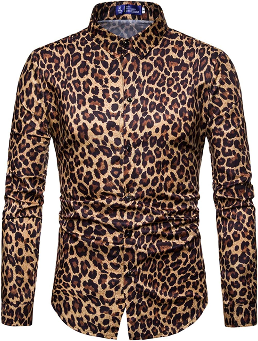 XTAPAN Mens Long Sleeve Fit Slim Fashion Vintage Leopard Print Casual Button Down Dress Shirt