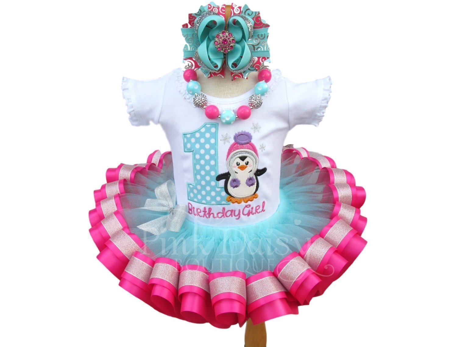 Girls Penguin Birthday Outfit in Aqua Pink and Silver with Personalized Shirt and Ribbon Trim Tutu