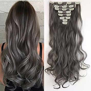 S-noilite® 24 quot  Curly Dark Grey Full Head Hairpiece Clip in Hair  Extensions 009265d17