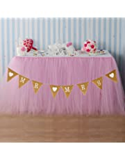 vLoveLife 1 Baby Pink Tulle Tutu Table Skirt + 1 Mr Love Mrs Burlap Banner Flags Wedding Tableware TableCloth Wedding Party Decorations Favors - 100cm x 80cm