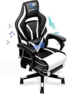 SOUTHERN WOLF Gaming Chair with Massage Function - Bluetooth Office Swivel Chair with Racing Style - Ergonomic Home Office Chair with Armrest Footres Headrest and Lumbar Support