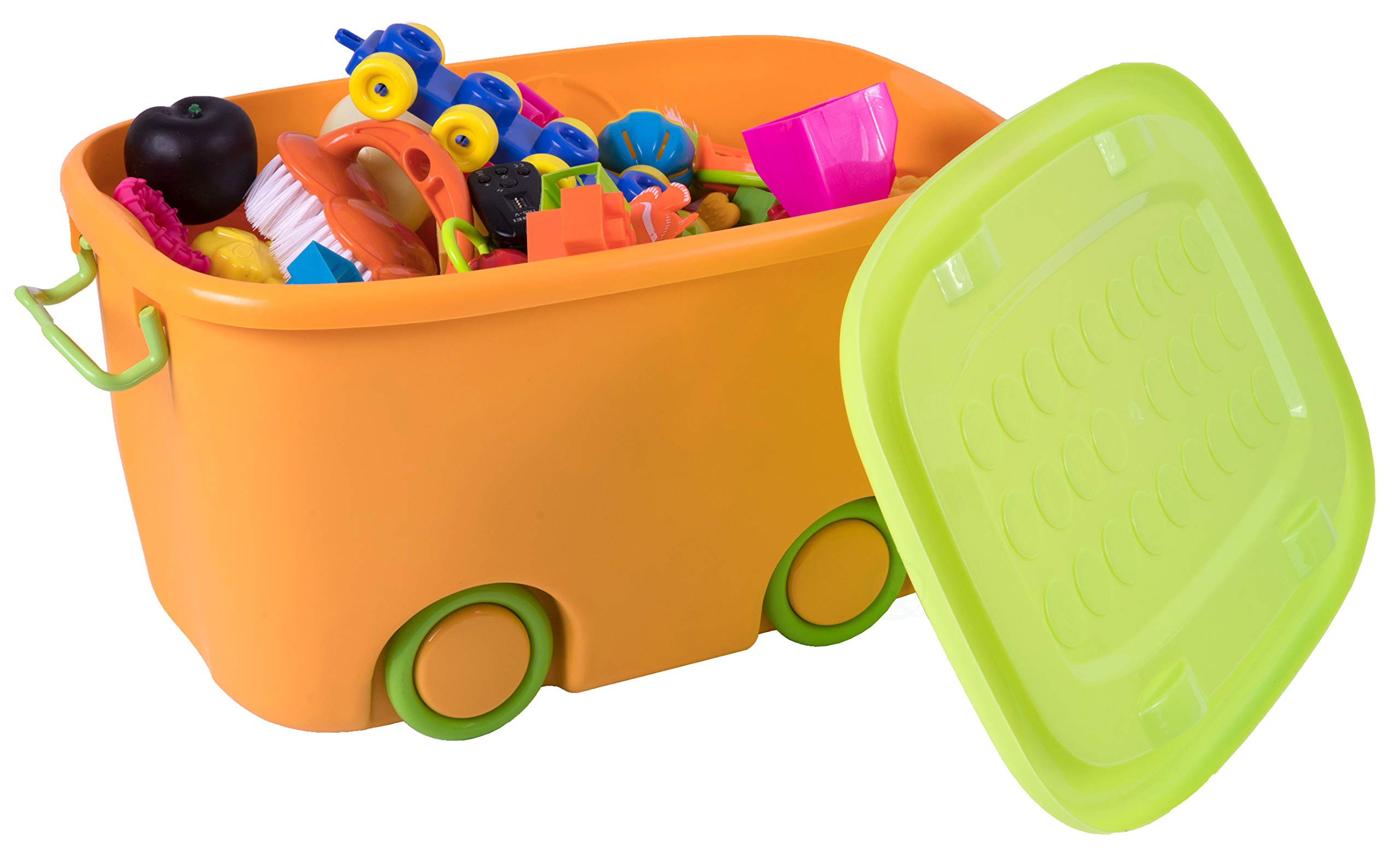 Stackable Toy Storage Box with Wheels (Small Orange)