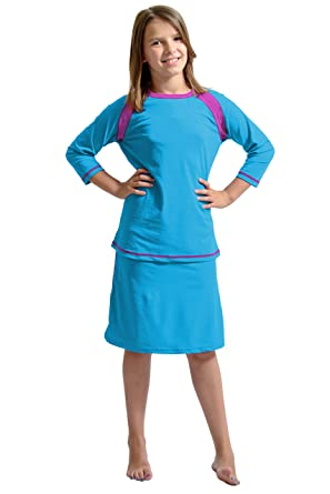 768c4741b33 Amazon.com  HydroChic Girl s Raglan Swim Top and Skirt - Modest Swimwear  Set  Clothing