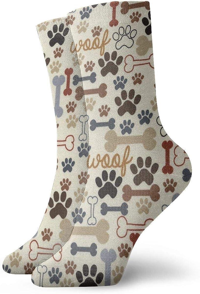 Men's And Women Socks- Dog Footprints And Bones Colorful Funny Novelty Crew Socks