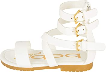 bebe Toddler Girl Gladiator Sandal With Back Zipper And Buckles (See More Colors and Sizes