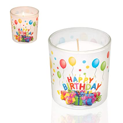 Smart Planet Happy Birthday Candle In Glass