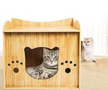 Casa De Gatito Al Aire Libre Interior Cat Cat Wooden Dage Mascota Desmontable Snug Cat Nest Junta De Alta Densidad: Amazon.es: Deportes y aire libre