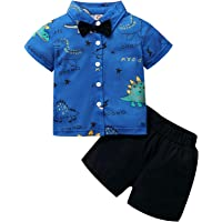 Toddler Baby Boys Gentleman Short Set Cartoon Dinosaur Bow-Tie Shirt Solid Shorts Outfits