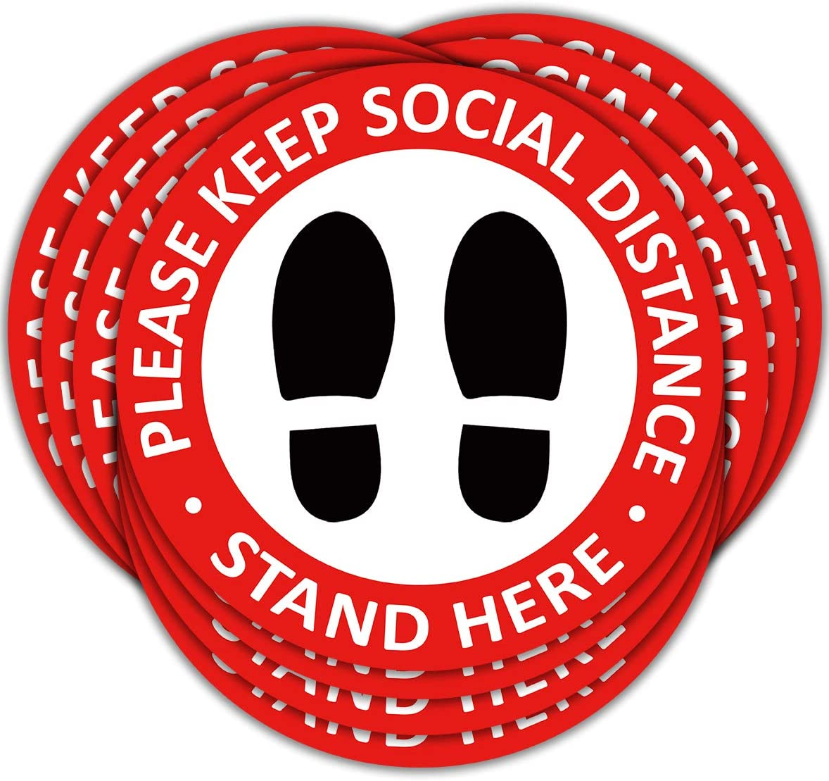 Please Wait Here Sign PLULON 10 Pack Social Distancing Floor Decals Red 11 Inch Round Please Keep Social Distancing Sign Safety Floor Sign