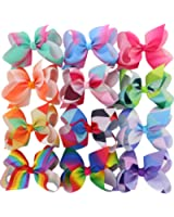 BIG Larger Grosgrain Ribbon Boutique 6in Rainbow Hair Bows Clips For Baby Girls Teens Toddlers Gifts Set Of 12