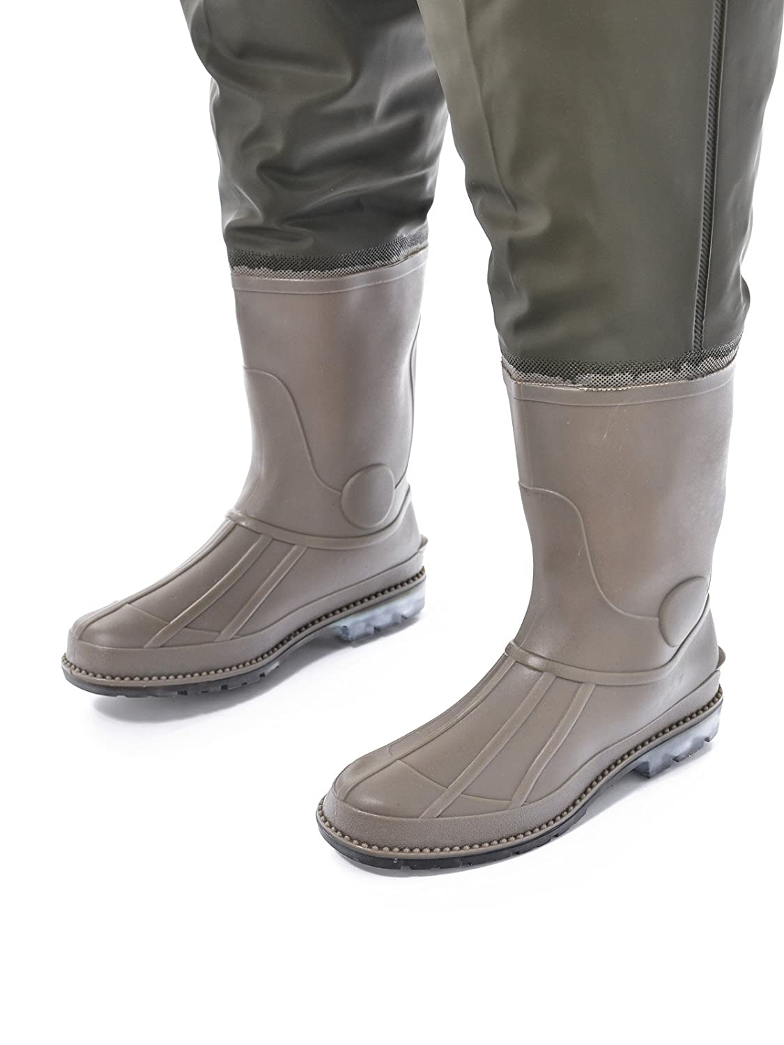 Hisea new rubber boot foot chest wader waterproof hunting for Fishing waders with boots