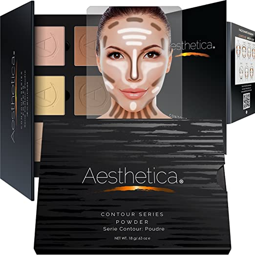 Aesthetica Cosmetics Contour Kit - Powder Contour, Highlighter & Bronzer - Fair to Medium Skin Tones Best Contouring Palette