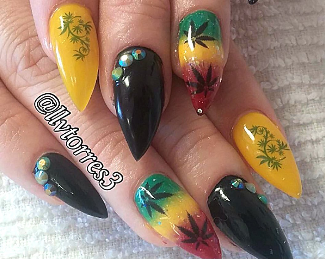 Amazon.com: Marijuana Pot Leaf Water Slide Nail Art Decals Set #2 ...