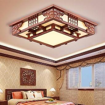 KHSKX Chinesische Wohnzimmer Deckenleuchte Holz Led