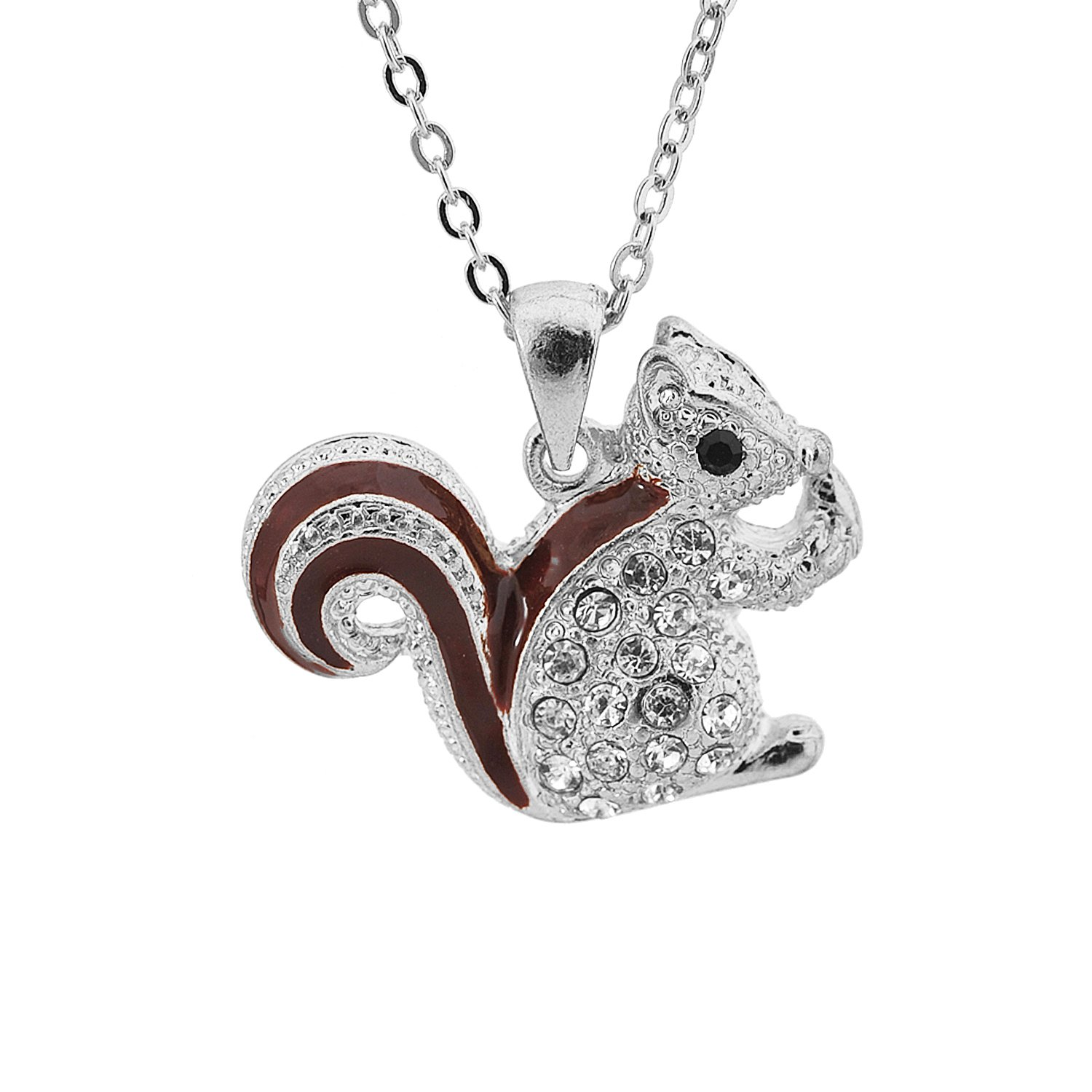 Amazon Cute Little Brown Tail Squirrel Necklace Gold Plated
