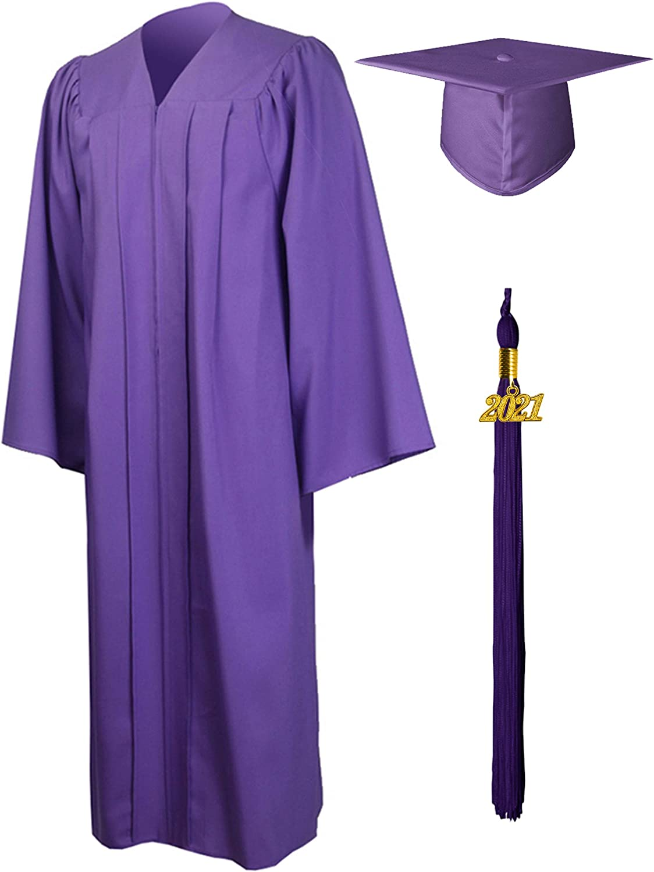 GraduationMall Matte Graduation Gown Cap Tassel Set 2021 for High School and Bachelor