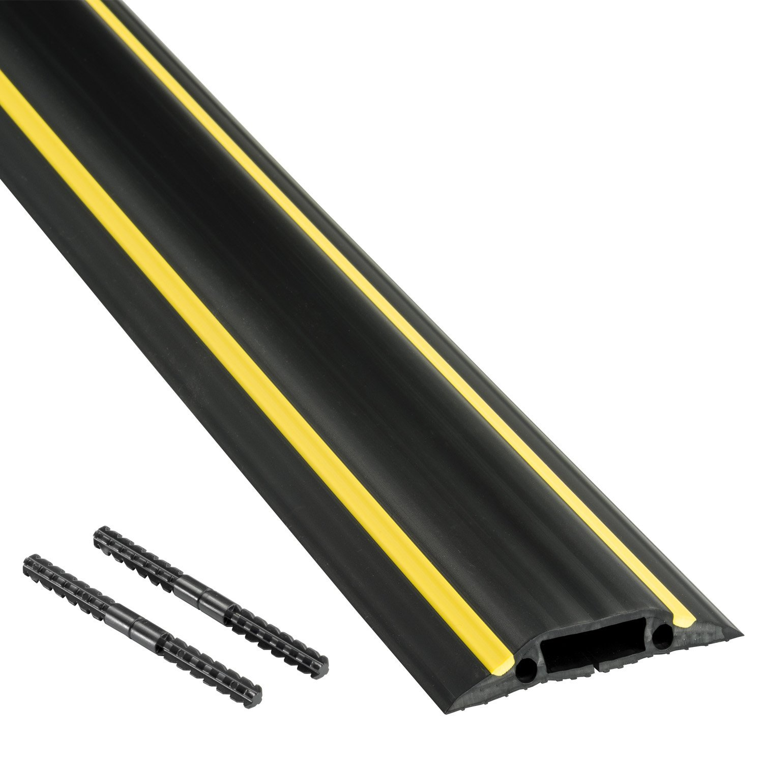 D-Line FC83H/9M Medium Duty Floor Cable Cover-Black with Yellow Hazard Stripe, 83mm Wide (30mm x 10mm Inner Channel), 9m Length