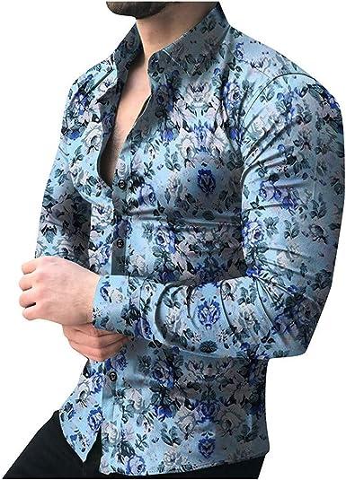 MEIbax Moda Personalidad botón Top de Manga Larga para Hombre Verano Camisa Manga Larga Hombre: Amazon.es: Ropa y accesorios