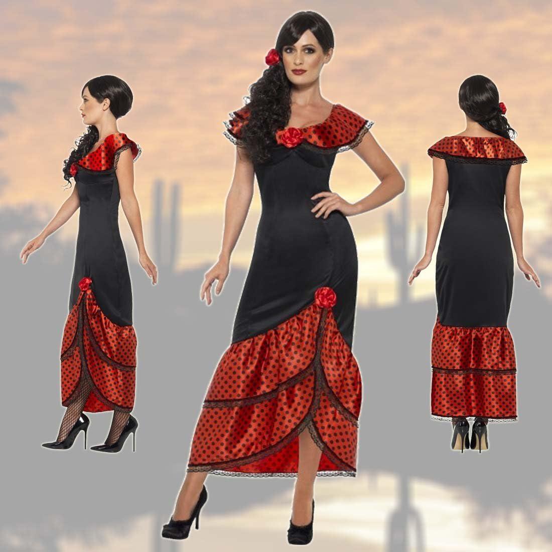 NET TOYS Vestido Flamenca Carmen Traje típico español S 36/38 Outfit señorita Ropa bailaora española Atuendo Andaluz Caracterización Carnaval Mujer: Amazon.es: Juguetes y juegos