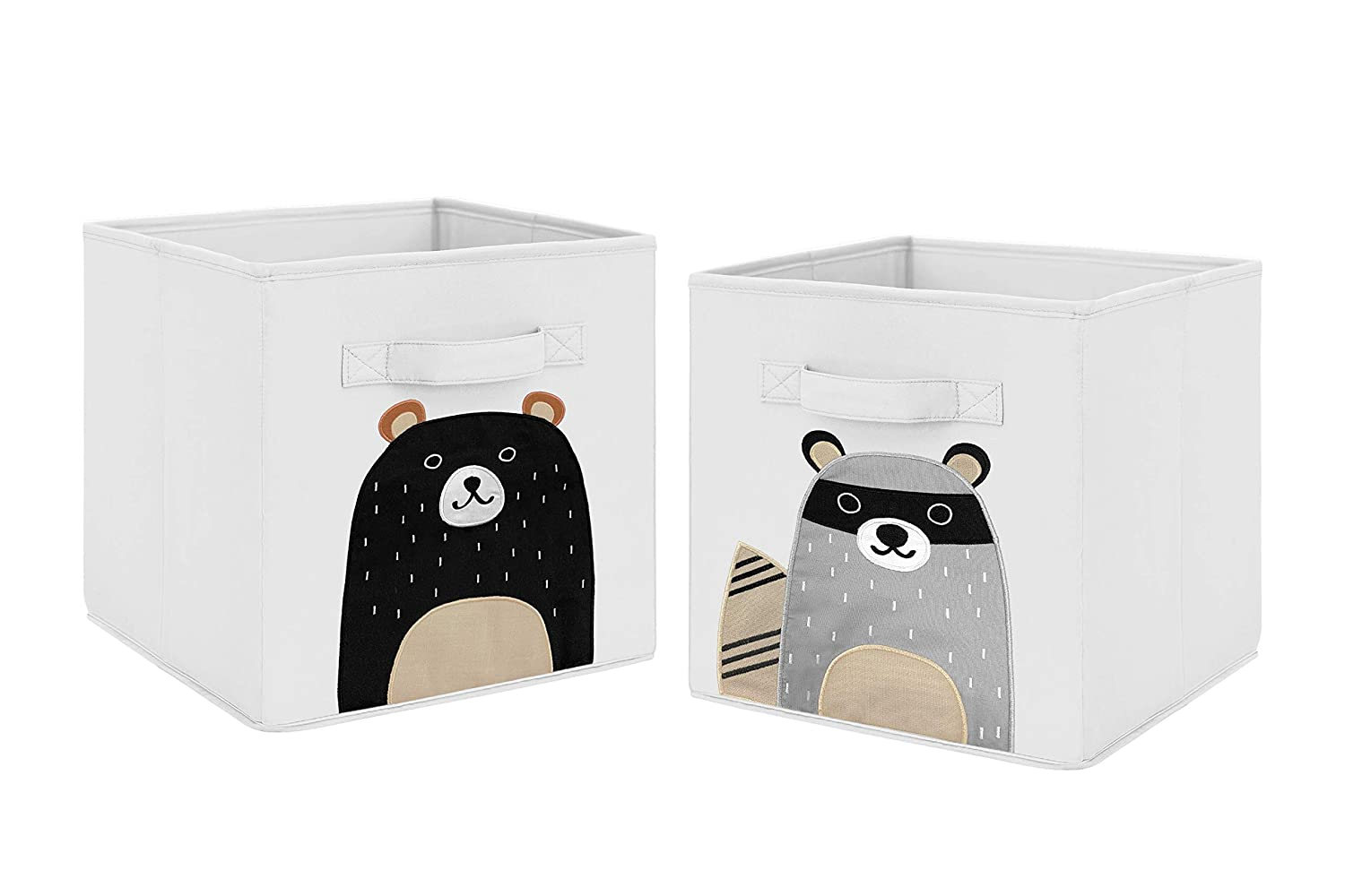 Sweet Jojo Designs Bear Raccoon Forest Animal Foldable Fabric Storage Cube Bins Boxes Organizer Toys Kids Baby Childrens for Woodland Pals Collection - Set of 2 - Neutral Beige, Grey, Black and White