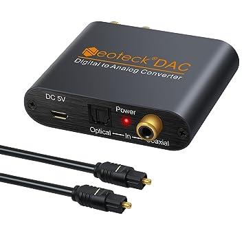 Neoteck DAC Conversor Digital SPDIF Coaxial Toslink a Analágico Estéreo RCA 3.5mm Jack Audio Convertidor