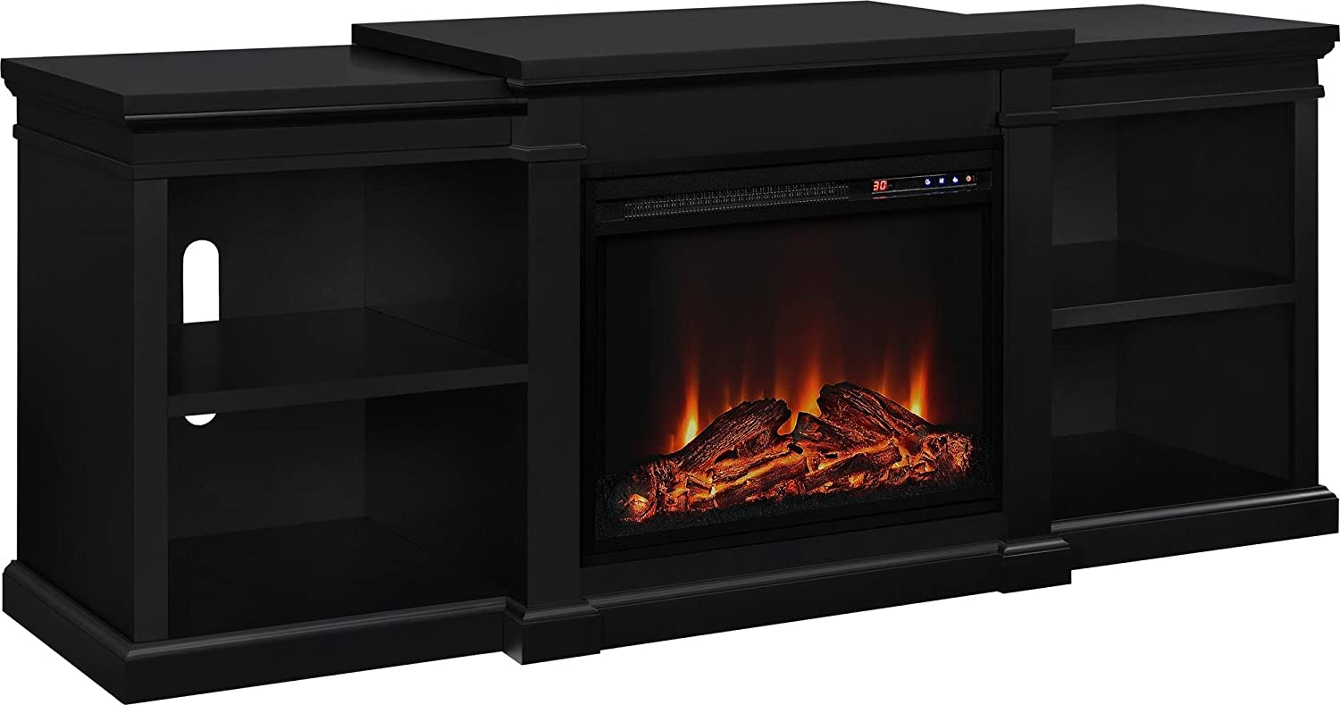 decorators black stands coleridge midnight infrared fireplace p mantel console electric collection tv in home h oak